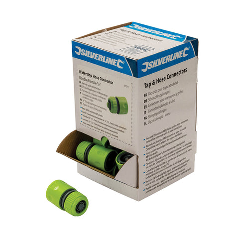 "Silverline-Waterstop Hose Connectors 1/2"" Display Box 30pce"