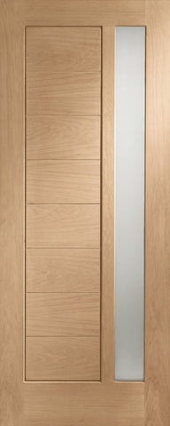 "Modena Double Glazed External Oak Door (Dowelled) with Obscure Glass -1981 x 762 x 44mm (30"")"