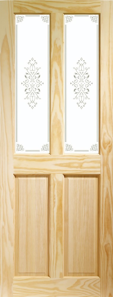 Victorian 4 Panel Internal Clear Pine Door with Campion Glass