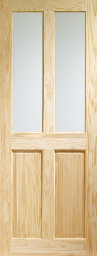 Victorian 4 Panel Internal Clear Pine Door with Clear Glass -