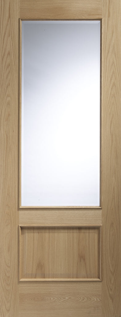 "Andria Internal Oak Door with Clear Bevelled Glass and Raised Mouldings-1981 x 762 x 35mm (30"")"