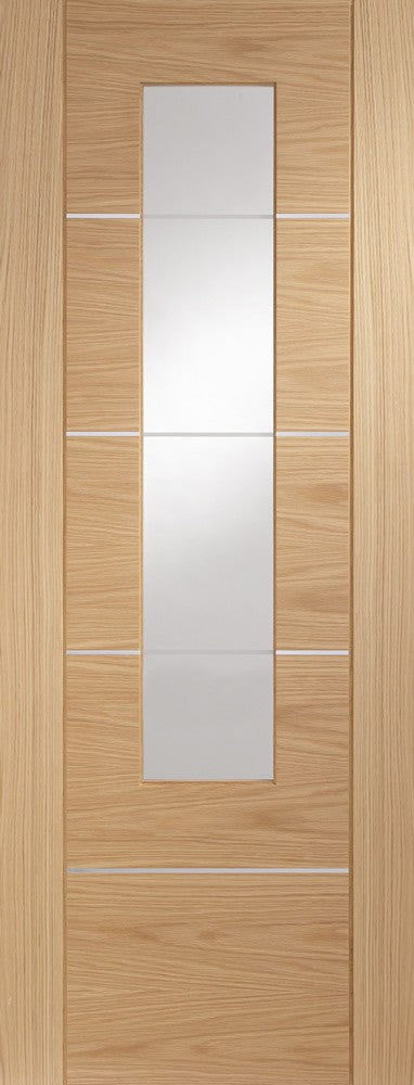 "Portici Pre-Finished Internal Oak Door with Clear Glass -1981 x 686 x 35mm (27"")"