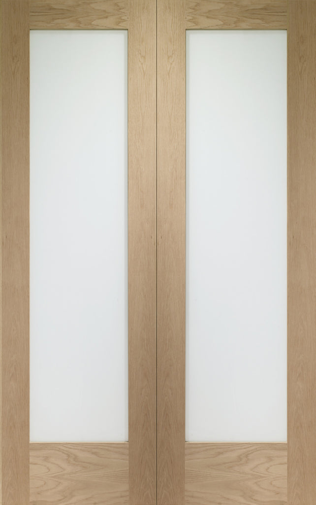 "Pattern 10 Internal Oak Rebated Door Pair with Obscure Glass-1981 x 1168 x 40mm (46"")"