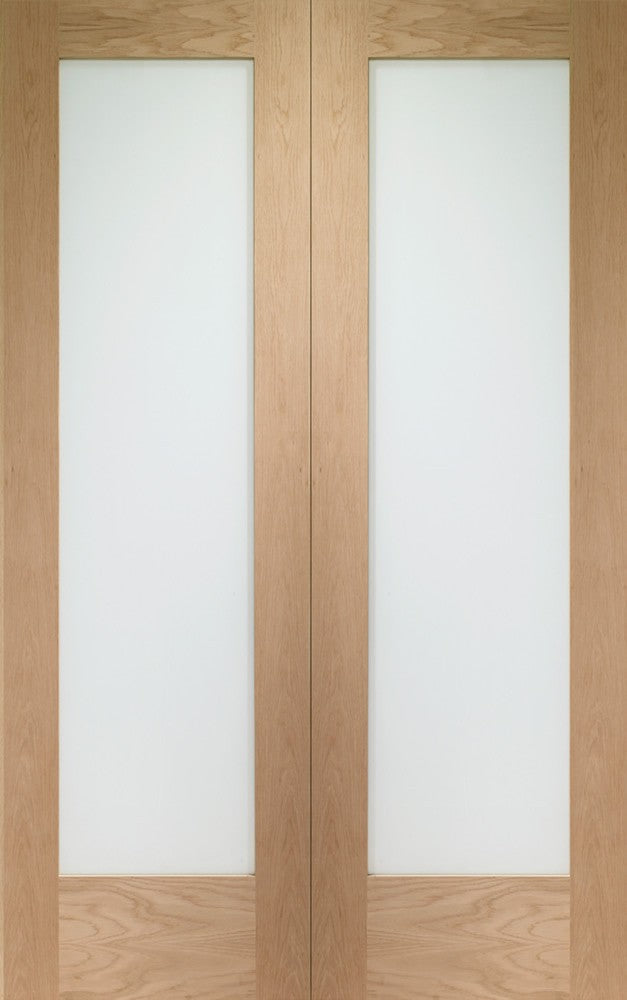 "Pattern 10 Internal Oak Rebated Door Pair with Clear Glass -1981 x 915 x 40mm (36"")"