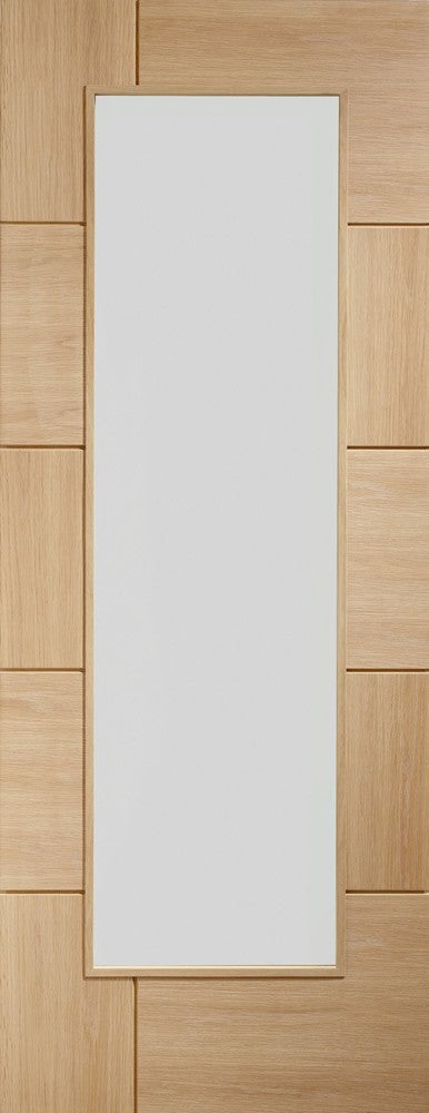 "Ravenna Internal Oak Pre-Finished Door with Clear Glass-1981 x 838 x 35mm (27"")"