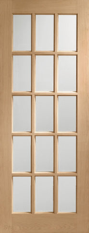 "SA77 Internal Oak Door with Clear Bevelled Glass -1981 x 686 x 35mm (27"")"