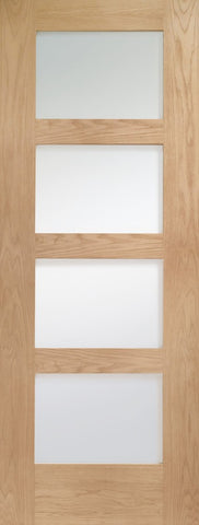 "Shaker 4 Light Pre-Finished Internal Oak Door with Obscure Glass -1981 x 686 x 35mm (27"")"