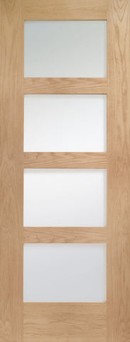 "Shaker 4 Light Internal Oak Fire Door with Obscure Glass -1981 x 762 x 44mm (30"")"