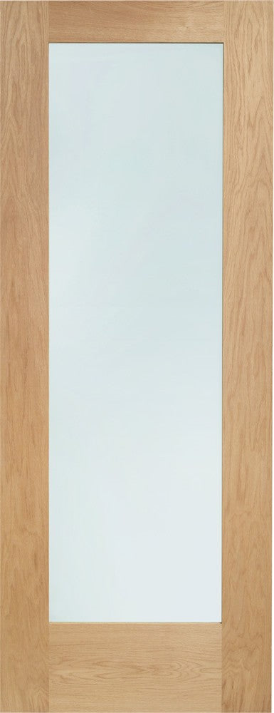 "Pattern 10 Pre-Finished Internal Oak Door with Clear Glass -1981 x 610 x 35mm (24"")"