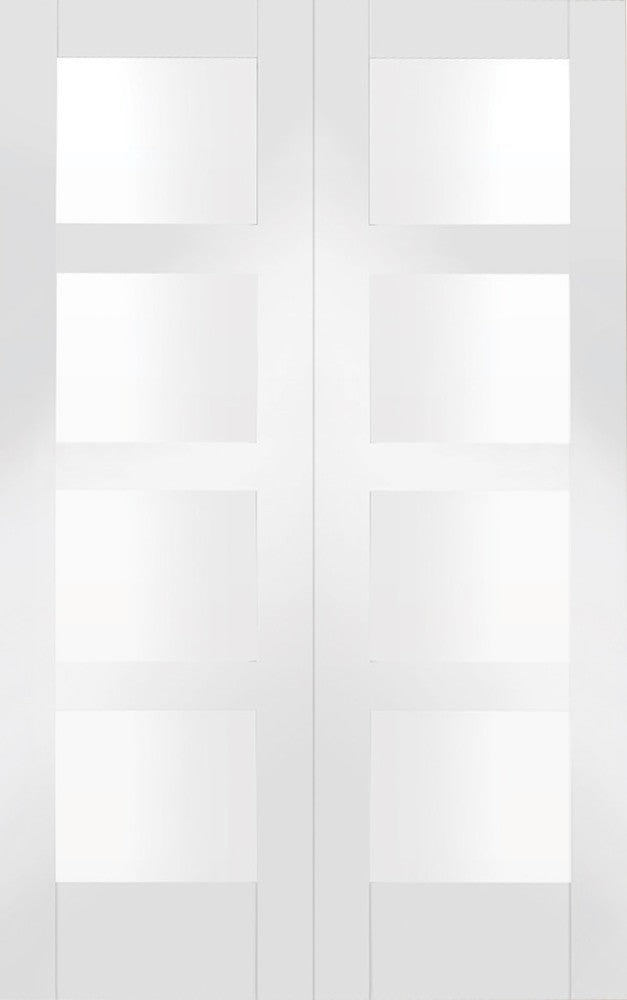 Shaker Internal White Primed Rebated Door Pair with Clear Glas - sidtelfers diy & timber