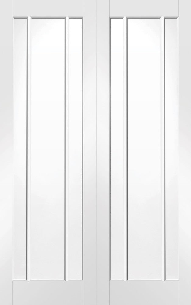 Worcester Internal Rebated White Primed Door Pair with Clear Glass