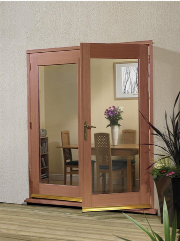 La Porte French Door External Hardwood Set (Brass Hardware)
