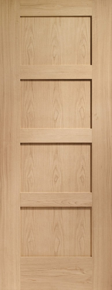 "Shaker 4 Panel Pre-Finished Internal Oak Fire Door-1981 x 686 x 44mm (27"")"