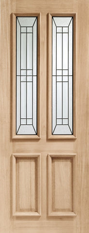 "Malton Diamond Triple Glazed External Oak Door (M&T) with Black Caming -1981 x 762 x 44mm (30"")"