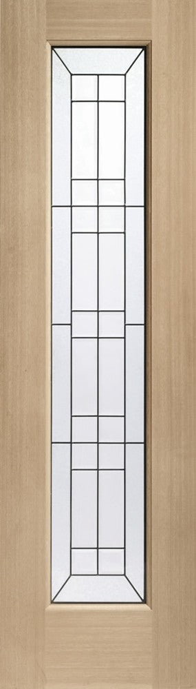 "Bevelled Side Light Triple Glazed External Oak Door (Dowelled) with Black Caming -2032 x 584 x 44mm (23"")"