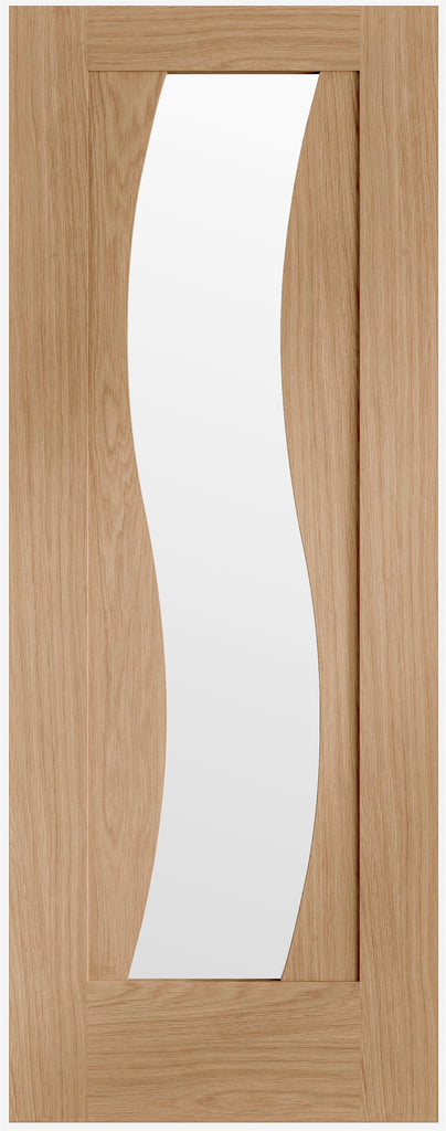 "Florence Pre-finished Oak Door with Clear Glass-1981 x 686 x 35mm (27"")"