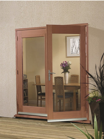 La Porte French Door External Hardwood Set (Chrome Hardware)