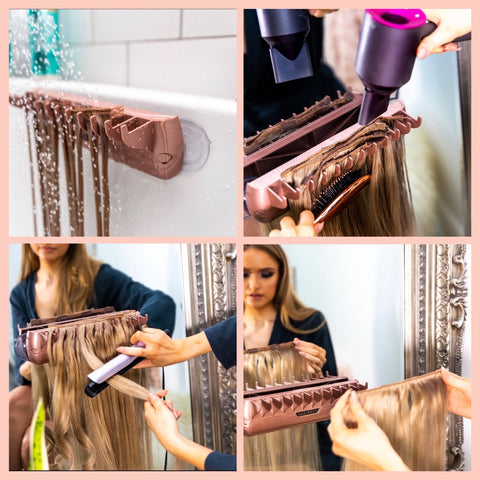 wash dry style and store hair extensions