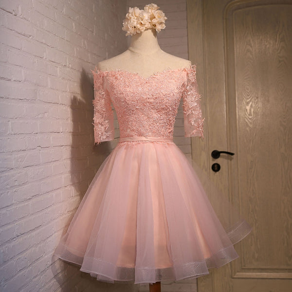 Adorable Knee Length Tulle with Lace Applique Party Dress, Homecoming Dress