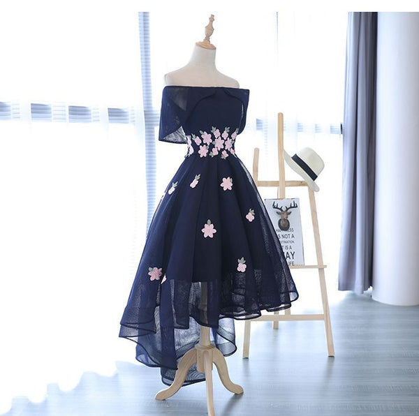 Charming Navy Blue Tulle Party Dress with Flowers, Cute Prom Dress 2020
