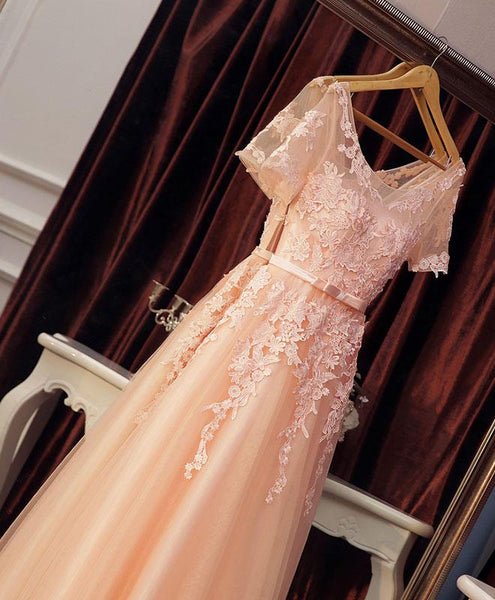 Pearl Pink Tulle Lace Party Dress, Women Long Formal Dress 2019