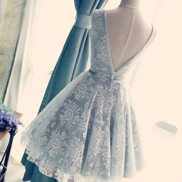 Charming Sliver-Grey Lace Homecoming Dress, Short Prom Dress