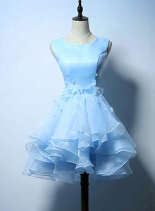 Lovely Light Blue Organza Layers Short Homecoming Dress, Blue Prom Dress