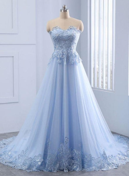 Light Blue Sweetheart Lace Applique Long Evening Gown, Blue Prom Dresses