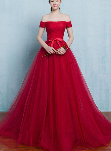 red tulle off shoulder party dress