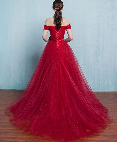 Red Tulle Formal Dress 2019, Red Party Gown 2019