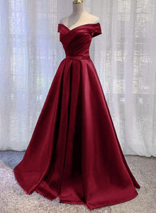 Wine Red Floor Length Off Shoulder Wedding Party Dress, Dark Red Prom Dress