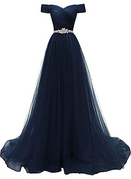 Off Shoulder Navy Blue Party Dress, A-line Tulle Blue Bridesmaid Dress