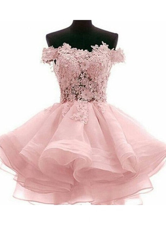 Lovely Off Shoulder Organza and Lace Sweetheart Prom Dress, Homecoming Dresses 2019