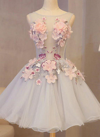 Cute Sleeveless Appliqued Short Homecoming Dress with Flower, Short Prom Dress