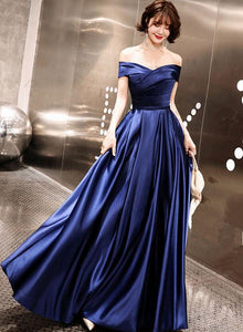Blue Off Shoulder Prom Dress 2020, Blue Party Gown 2020