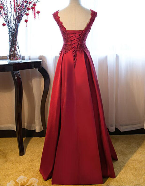 Dark Red Satin A-line Fashionable Prom Dress, Wine Red Evening Gown