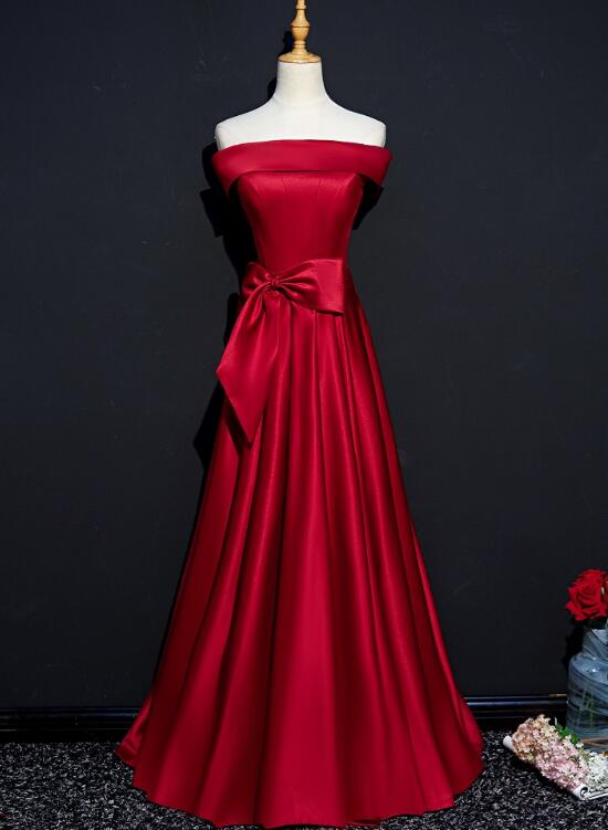 Dark Red Satin Long Party Gown, Red Off Shoulder Prom Dress 2020