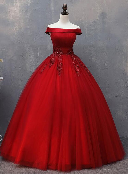 dark red tulle prom dress