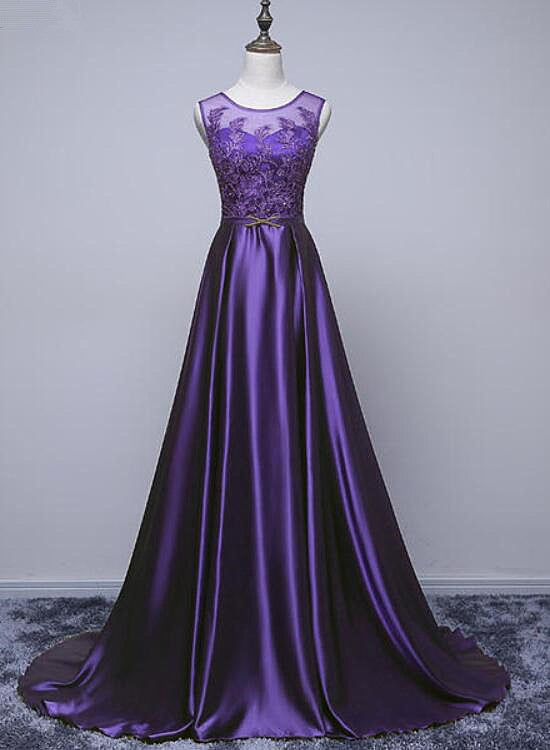 satin purple long party dress
