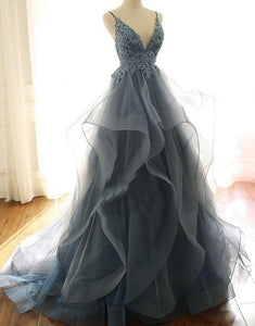 Blue Lace Top with Layers Tulle Prom Dress, New Straps Evening Gown