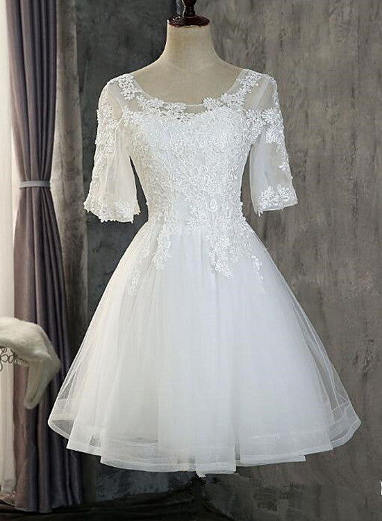 Cute White Short Sleeves Tulle with Lace Party Dress, Short Graduation Dress