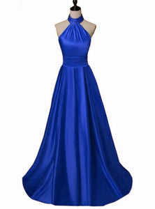 Beautiful Blue Satin Halter Long Junior Prom Dress, Royal Blue Formal Gowns