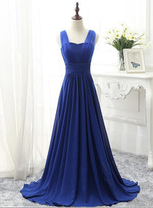Charming Blue Chiffon A-line Bridesmaid Dress, Simple Party Dress