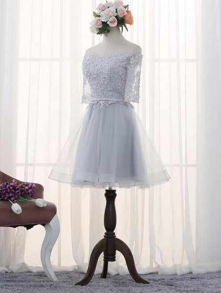 Lovely Grey Tulle Short Homecoming Dress, Grey Lace Prom Dress