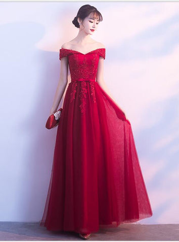 Beautiful Dark Red Off the Shoulder Tulle Party Dress, A-line Bridesmaid Dress