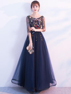 Floral Tulle Long Bridesmaid Dress with Sleeves, A-line Navy Blue Party Dress