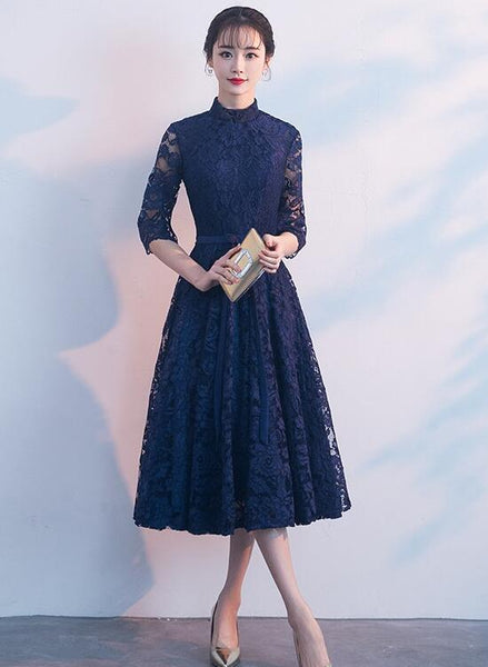 Navy Blue Lace Tea Length High Neckline Formal Dress, Lace Wedding Party Dress