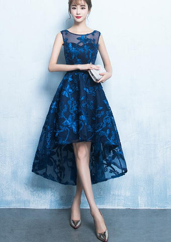 blue high low party dress