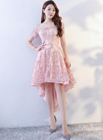 Charming Light Pink Lace A-line Prom Dress, High Low Homecoming Dress