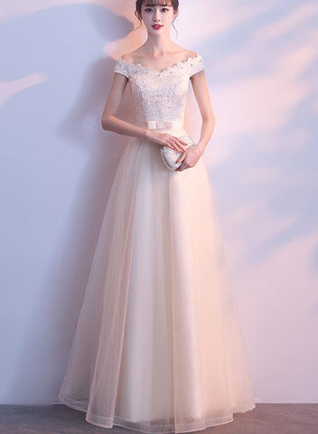 Lovely Off Shoulder Tulle Long Party Dress, Prom Dress 2020